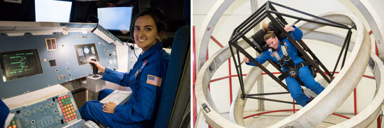 Left: 2018 HESA teacher Erin Emanuele completes a mission at the U.S. Space & Rocket Center.  Right: Central New York 2018 HESA teacher Michelle Hall in a gravity chair at the U.S. Space & Rocket Center.