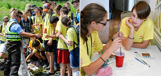 Students learn from habitat experts and engineers about the Onondaga Lake cleanup at Honeywell's Onondaga Lake Visitors Center.  Left: Matt McDonough, a habitat expert from Parsons, shows students a fish caught in Onondaga Lake.  Right: Honeywell Summer Science Week students Sarah Fettig (left), of the West Genesee Central School District, and Tess Schmidt, of the Fayetteville-Manlius School District, complete an engineering activity to learn about the Onondaga Lake cap.