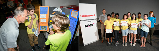 "Left: Students Peter Santoro (left), of the Liverpool Central School District, and Symeon Barrett, a home-schooled student, present their observations to Honeywell Syracuse Program Director John McAuliffe.  Right: Honeywell Summer Science Week students receive completion certificates and become ""MOST Associates,"" which grants each student a one-year museum pass."