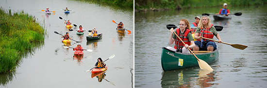 Left: Participants paddle from the public Nine Mile Creek canoe and kayak launch off of Pumphouse Road in Geddes to Onondaga Lake.  Right: Taylor (front) and Pamela Jones, of Baldwinsville, paddle down Nine Mile Creek.
