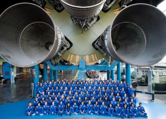 Graduation photo for Honeywell Educators at Space Academy 2018 in Saturn V Hall at the U.S. Space & Rocket Center.