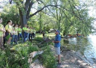 Guest speaker Charles Driscoll, Ph.D., Syracuse University Professor of Environmental Systems, speaks to students about the history and ecology of Onondaga Lake.