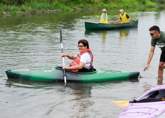 Magda Monteza enjoys her first Corps event and first time kayaking.