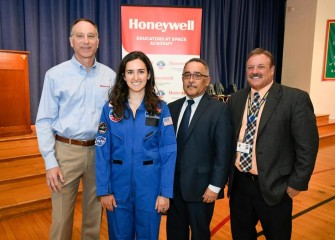 From left to right are:  John McAuliffe, Honeywell Syracuse Program Director; Erin Emanuele, Math Teacher; Jaime Alicea, Syracuse City School District Superintendent; and John Devendorf, Principal at J. T. Roberts PreK-8 School.