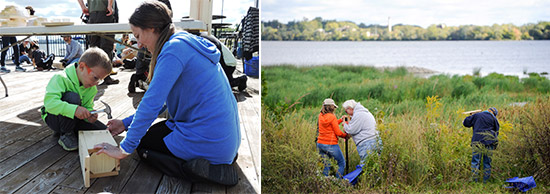 Left: First-time Corps volunteers Ian (left), 6, and mom Rebecca Margiotta, of Baldwinsville, construct a wooden nesting box to attract Eastern bluebirds.  Right: Deborah and David Holihan (left), of Liverpool, install a bird box near Harbor Brook.