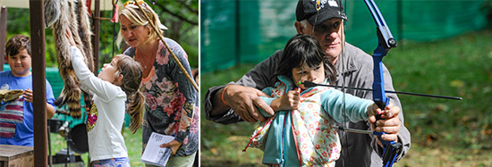 Left: Seven-year-old Brielle Buxton (center), of Cicero, checks out a pelt at the living history site with her mom Colleen Buxton (right) and brother Owen (left), 8.  Right: Seven-year-old Maddison Perkins, of Syracuse, tries archery with help from Mark Schmid, of the Pompey Rod & Gun Club.