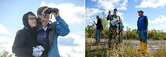 Left: Liam Adams (left), 13, and mom Heather Adams, of Cicero, track native birds along the western shoreline of Onondaga Lake.  Right: Steve Mooney (center), Managing Scientist at OBG, examines the restored habitat with participants Steven Knowles (right), of Camillus, and Tim Gordon (left).