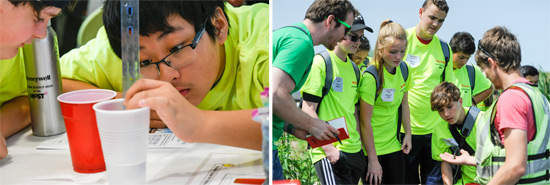 Left: Nicholas Rodriguez (left), from East Syracuse Minoa Central School District, and Eric Yao, from Fayetteville-Manlius School District, perform an engineering activity to learn about capping in Onondaga Lake. Right: Participants tour wetlands along Onondaga Lake, studying bird and fish diversity, and microscopic organisms found in and around Onondaga Lake. Fish examined include juvenile largemouth bass, creek chub, and banded killifish.