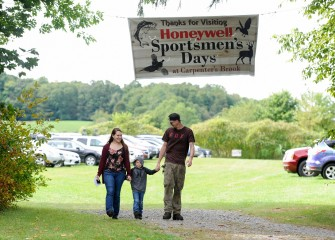 """This is the first time we've attended this event,"" said Heather Williams (left), of Red Creek. ""It was nice our son could learn from outdoors experts at Honeywell Sportsmen's Days."""