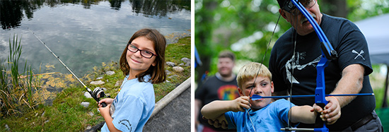 Left: Grace Millet, 9, of Liverpool, fishes for trout in the public fishing pond at Carpenter's Brook Fish Hatchery. Right: Six-year-old Robert Murray, of Elbridge, tries his hand at archery with instruction by Jim Kilmartin from the Clay Sportsman's Club.
