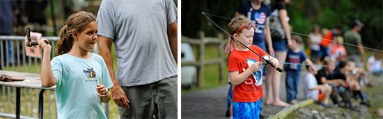 Left: Ten-year-old Allison Darling, of Auburn, prepares to throw a hatchet while keeping her eye on the target in the hatchet-throwing area. Right: Walden Schild, 5, of Liverpool, reels in his line while trout fishing. Walden is already an avid fan of fishing.