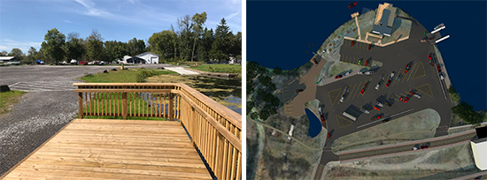 Left: Property along the Seneca River was developed for use as a public boat launch, featuring a concrete boat ramp, floating boat dock, a platform compliant with Americans with Disabilities Act Accessibility Guidelines, and a parking area. Right: Rendering of the future Kenneth P. Lynch Boat Launch at Onondaga Lake for trailered motorboats and car-top boats such as canoes and kayaks. Lynch is a retired DEC Executive Deputy Commissioner and former DEC Region 7 Director. The free, public boat launch will be located off of Exit 7 on I-690 West and is expected to open in 2020.