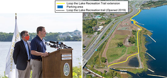 Left: Onondaga County Executive Ryan McMahon (right) and New York State Assemblyman William B. Magnarelli (left) announcing the new trail extension on the southwestern shore of Onondaga Lake.   Right:  The Loop-the-Lake Trail now extends nearly nine miles from Liverpool to Harbor Brook.